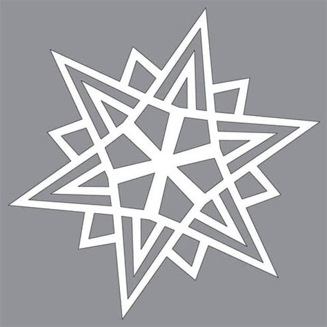 spiky pointed paper snowflake pattern  cut