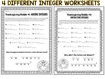 integer worksheets riddles thanksgiving math riddles integer operation worksheet set
