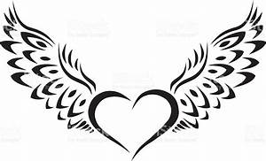 Heart With Wings Tribal Tattoo Stock Vector Art & More ...