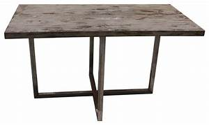 Rustic reclaimed woo and metal dining table - Modern ...