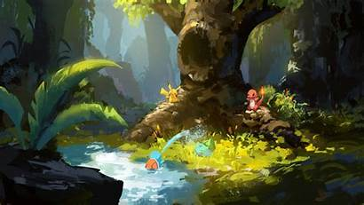 Pokemon Pikachu Charmander Nature Concept Bulbasaur Grass