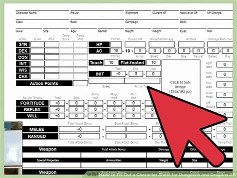 how to fill out a character sheet for dungeons and dragons 3 5