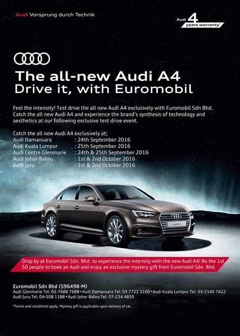 Test Ad - ad test drive the brand new audi a4 at all euromobil