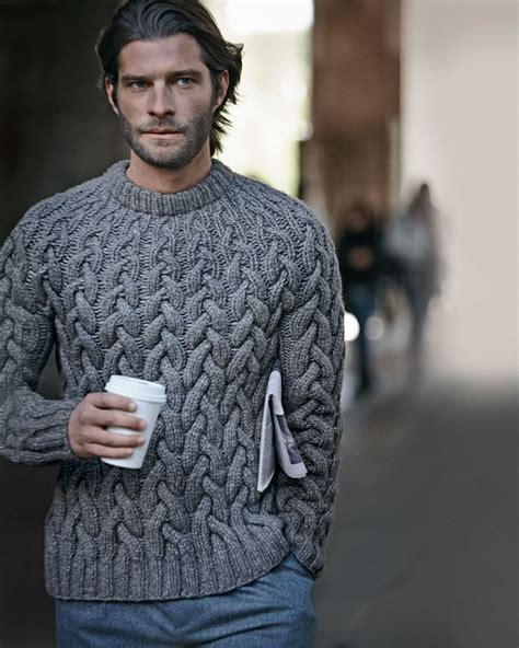 mens chunky knit sweater wool cable knit chunky sweater from michael kors