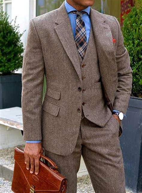 vintage dark brown herringbone tweed suit