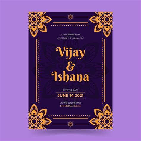 wedding invitation template  indian couple  vector
