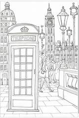 Coloring London Phone Booth Books Visit Colouring sketch template
