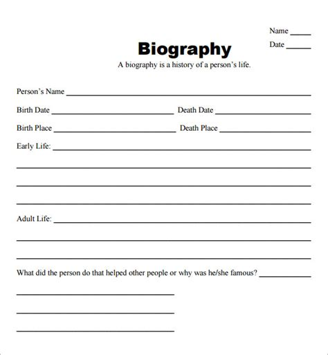 Biografie Vorlage by Free Fill In The Blank Bio Templates For Writing A