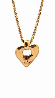 Chanel Vintage Large Heart CC Logo with Cutout Rolo Chain ...