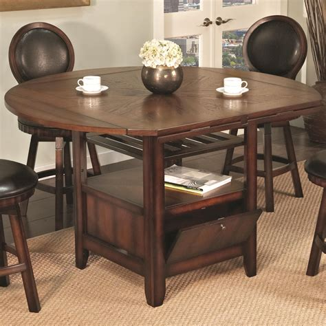 Pub table bistro sets are prefect for a dining nook area or simply the center piece of a small kitchen. U.S. Furniture Inc 2251/2252 Round Top Pub Table with Storage Base and 4 Drop Leaves | Royal ...