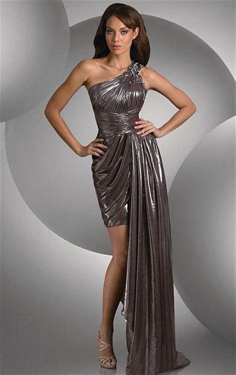 shimmer  shoulder bronze chiffon prom dress