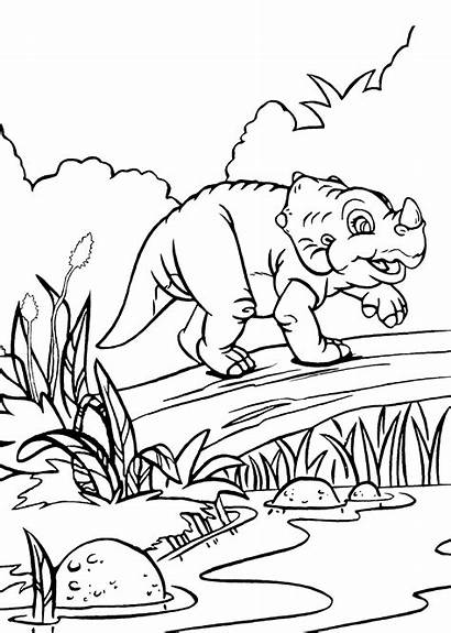 Land Coloring Before Pages Dinosaur Cera Printable