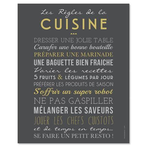 mot de cuisine affiche les règles de la cuisine 40x50cm mes mots déco