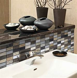 mosaique marron beige blanc verre metal marbre 30x30 With carreaux mosaique salle de bain