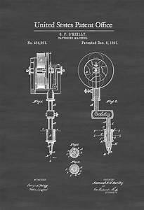 First Tattoo Machine Patent 1891 - Tattoo Gun Patent