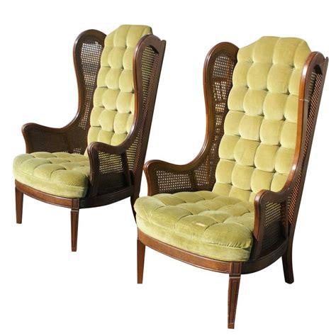 pair vintage lewittes velvet wingback chairs ebay