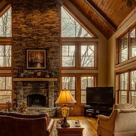 Custom stone fireplace, exposed beams and custom wood