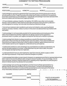 consent forms sneekie39s tattoos With tattoo release form template