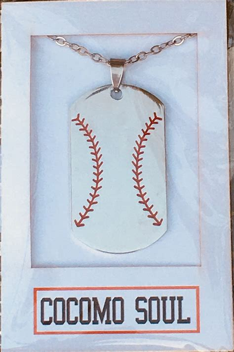 baseball  softball dog tag necklace