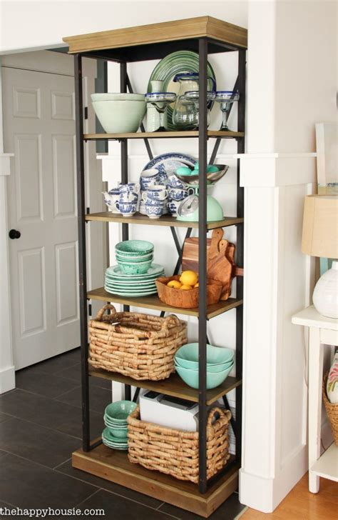 using an etagere shelf for kitchen storage display the