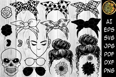 See more ideas about svg, free svg, cricut crafts. Messy Bun Bandana Mom Life SVG Clip Art (Graphic) by V ...