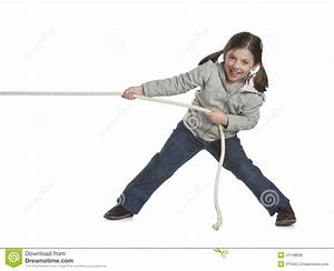 Kid Pulling Rope Stock Photo  Image Of Cheerful  Casual