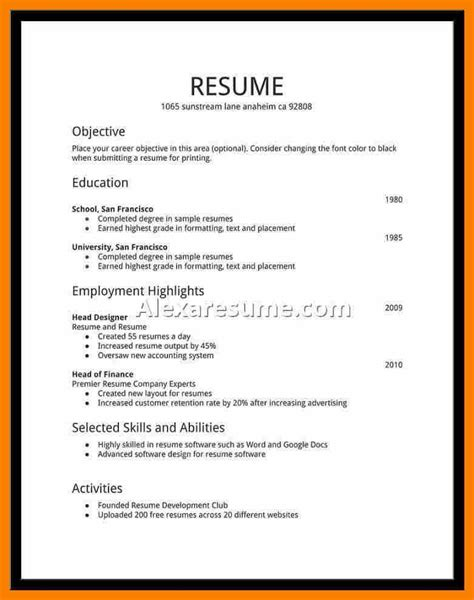 highschool cv ideal vistalist co