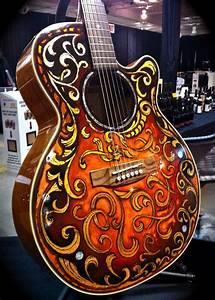 Hand Painted  Gold Leaf Guitar
