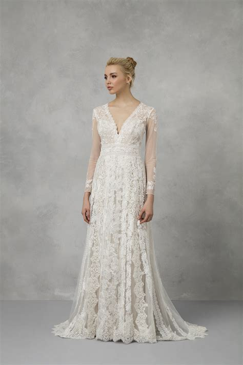 linear lace wedding dress ms251173
