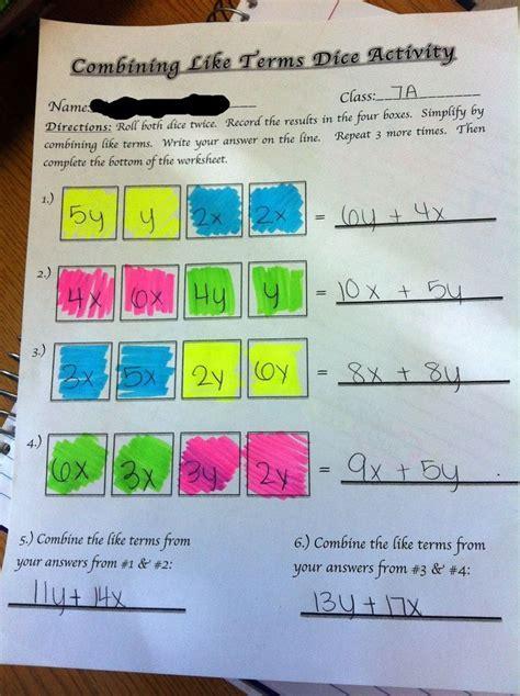 grade math worksheets combining  terms