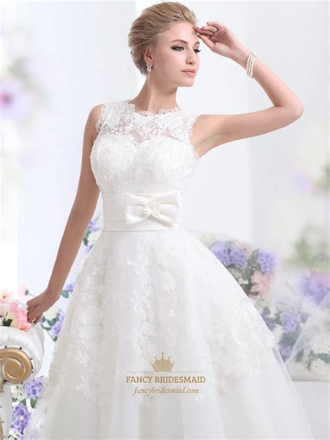 ankle wedding dress ivory lace bodice tulle ankle length wedding dresses with
