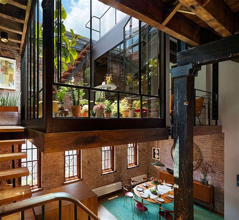 industrial loft  tribeca  retractable glass roof
