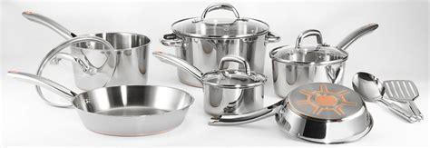fal stainless steel cookware set pots  pans  copper bottom  piece silver model