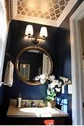Navy Half Bath With Painted Ceiling Painting Walls And Ceiling Same Color Ceiling Color Inspirations Because White Is So Boring Do You Know The Wall And Tray Ceiling Paint Colors