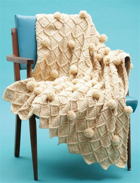 lattice pom pom crochet blanket allfreecrochetafghanpatternscom