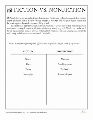 fiction vs nonfiction worksheet education com