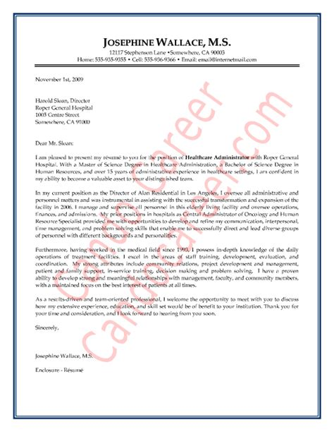 Cover Letter Health Care Administration by Healthcare Administrator Cover Letter Sle By Cando