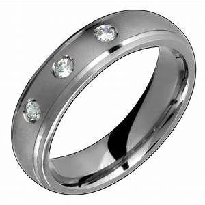 Mens Titanium Ring With Diamond Engagement Wedding Band