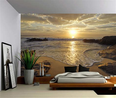 sea wave sunset large wall mural