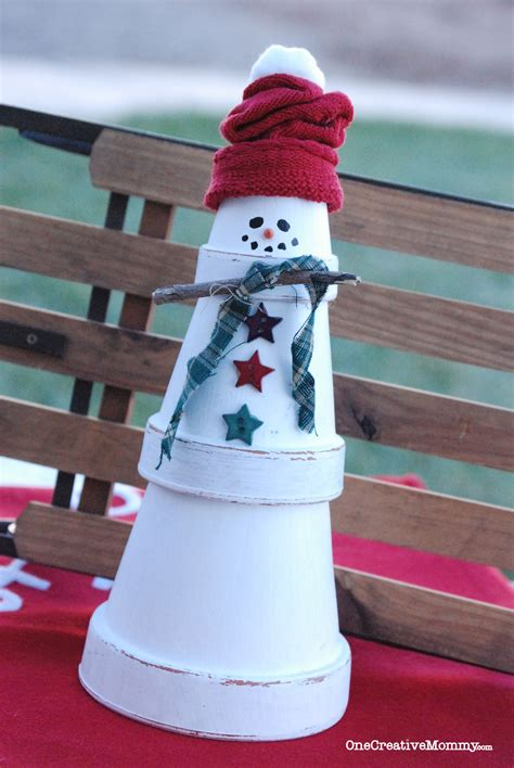 quick  easy terra cotta snowman craft