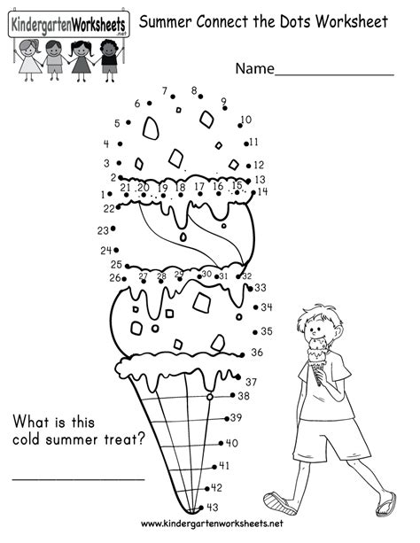 summer connect the dots worksheet for kindergarten free