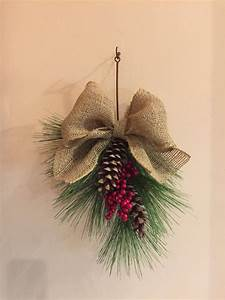 Hanging, Holiday, Decoration, With, Pine, Cones, Red, Berries, And, A, Large, Burlap, Bow, Christmas