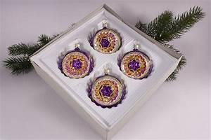 Weihnachtskugeln Aus Lauscha : 4 reflexkugeln 6 cm im set violett gold christbaumkugeln ~ Orissabook.com Haus und Dekorationen
