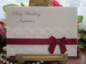 b0009 a6 tuscany ruby wedding anniversary card invitation With handmade ruby wedding invitations