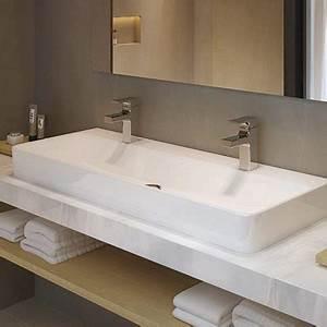 vasque salle de bains vasque a poser ou encastrer With salle de bain design avec vasque double a encastrer
