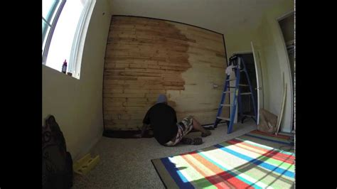 time lapse video   staining  sons wood paneled