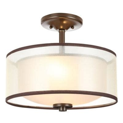 semi flush kitchen lighting hton bay 2 light bronze semi flush mount light with 5132
