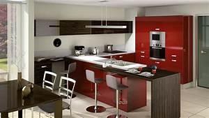 Cuisine equipee rouge et gris for Idee deco cuisine avec cuisine aménagée ou Équipée