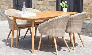 Table De Jardin 4 Personnes : salon de jardin r tro en bois et rotin 1 table 4 fauteuils confort ~ Teatrodelosmanantiales.com Idées de Décoration
