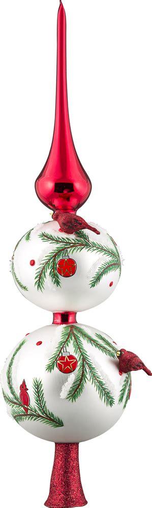 blown glass christmas tree decoration cardinal finial